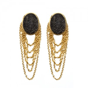 St Tropez Dangling Earrings Black