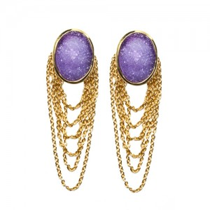St Tropez Dangling Earrings Purple