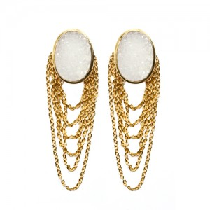 St Tropez Dangling Earrings White