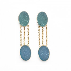 St Tropez Double Druzy Earrings Blue