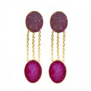 St Tropez Double Druzy Earrings Pink