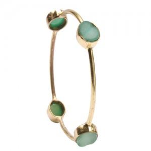 St Tropez Single Stackable Bangle Green